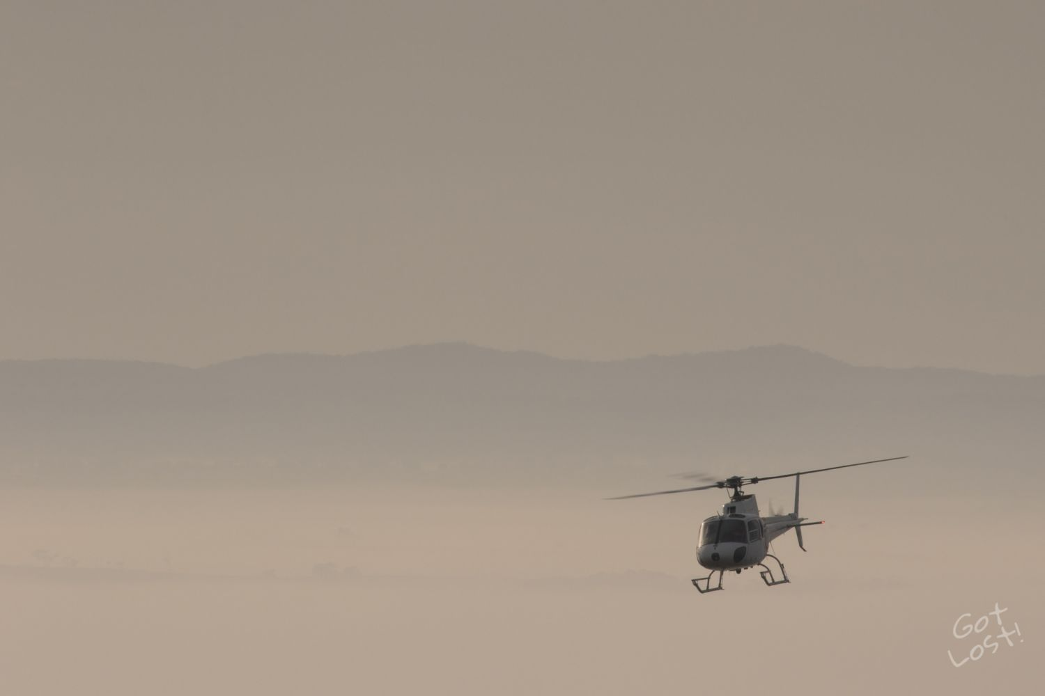 Helicopter in the Fog